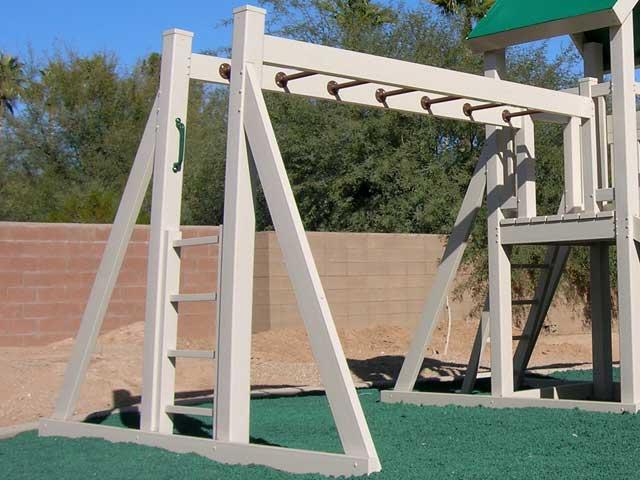 Monkey bar swing beam 5ft platform ruffhouse vinyl for Wooden swing set with bridge